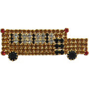 Great Rhinestone School Bus Pin - Frank DeLizza's Archives