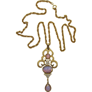 Gorgeous Trifari Long Pendant Necklace with Faux Opal Cabochons