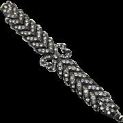 Stunning Yves St. Laurent / Monet Gunmetal and Rhinestone Bracelet