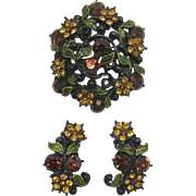 Black Japanned Brooch and Earring Set with Madeira Topaz and Topaz Rhinestones
