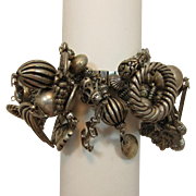 Fab Antique Silver-tone Expandable Bracelet with Dangling Charms
