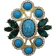 Beautiful Sarah Coventry Maharani Pendant with Faux Turquoise Cabochons
