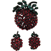 Austria Bright Red and Green Fruit Brooch and Earrings Set