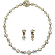 Brilliant Pear-Shaped AB Crystal Bead and Imitation Pearl Necklace and Earrings