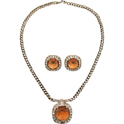 Stunning Monet Tangerine and Clear Rhinestone Necklace and Earrings Set