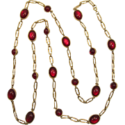 Long Gold-tone Saurtoir Necklace with Double Sided Red Cabochon Links