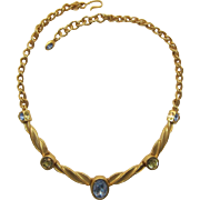 Gorgeous Monet Gold-tone Necklace with Yellow and Light Blue Rhinestones
