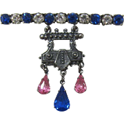 Renaissance Style Pink and Blue Rhinestone Brooch - Frank DeLizza's Archives