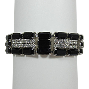 Black Baguette and Clear Rhinestone Bracelet