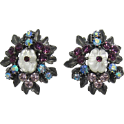 Beautiful Florenza Purple and Lavender Flower Earrings