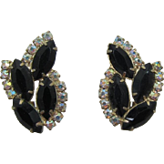 Black Navette and Aurora Boraelis Rhinestone Earrings
