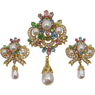 Gorgeous Germany Pastel and Pearl Brooch and Earrings - Frank DeLizza's Archives