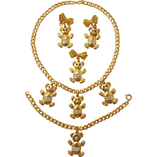 Bright Gold-tone Teddy Bear Necklace, Bracelet, Brooch and Earrings - Frank DeLizza's Archives