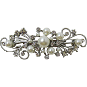 Beautiful Imitation Pearl and Clear Rhinestone Hair Barrette