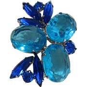 Aquamarine and Sapphire Blue Rhinestone Brooch