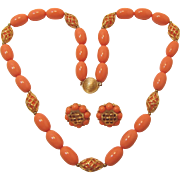 Light Coral and Gold-tone Lattice Design Necklace and Earrings Set