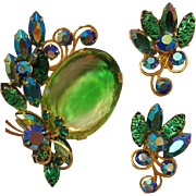 Huge Green and Clear Givre' Rhinestone with Green Cat's Eye and AB Navette Rhinestones