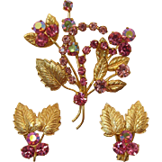 Made in Austria Sparkling Pink and Gold-tone Leaves Brooch and Earrings Set