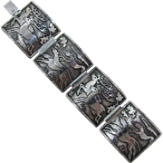 Signed Germany Stags and Hounds Aluminum Bracelet - Hunting Scene