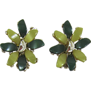 Fun Claudette Two-Tone Green Thermoplastic Moonglow Earrings