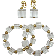 Two (2) Mid-Century Modern Lucite Ice Cube Bracelets and Matching Pair of Earrings