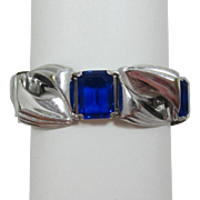 Vintage Chromium Link Bracelet with Sapphire Blue Unfoiled Rhinestones