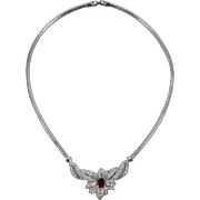 Beautiful Silver-tone Link Necklace with Floral Focal Piece - Frank DeLizza's Archives