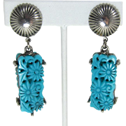 Dramatic Selro Long Dangling Earrings with Flower Insets