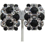 Dazzling 1980's Black and Clear Rhinestone Cluster Earrings