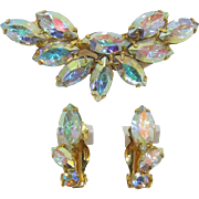 DeLizza and Elster Aurora Borealis Navette Brooch and Earrings - Frank DeLizza's Archives