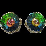 Gorgeous Hattie Carnegie Margarita Green Heliotrope Watermelon Rhinestone Earrings