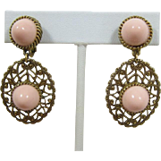 Lovely Gold-tone Filigree and Pink Cabochon Dangling Earrings