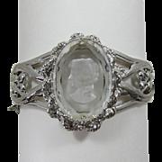 Beautiful Glass Intaglio Reverse Cameo Side-Hinged Bracelet