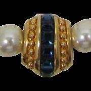 Swarovski Imitation Pearl Necklace with Sapphire Blue Rhinestone Enhancer