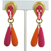 Crazy Pink and Orange Thermoplastic Drop Earrings with Pink Enameled Faces - Frank DeLizza's Archive