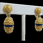 Trifari Elaborate Gold-tone Dangling Earrings with Deep Blue Enameling