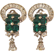 Stunning Jomaz Green and Clear Rhinestone Earrings
