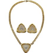 """Modernist """"Camphor Glass"""" Necklace and Earrings Set - Frank DeLizza's Archives"""