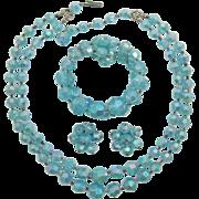 Austria Aquamarine Aurora Borealis Thermoplastic Necklace, Bracelet and Earrings Beaded Set