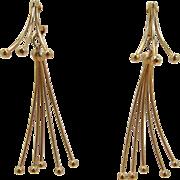 Napier Modernistic Long Dangling Wire Earrings