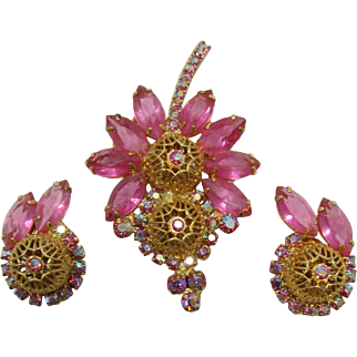 Gorgeous D&E Juliana Pink Navette and Filigree Ball Brooch and Earrings Set
