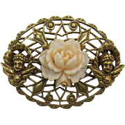 Lovely Antique Gold-tone Filigree Brooch with Cherubs and Pale Pink Rose