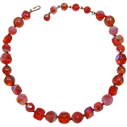 Shades of Orange and Pink All Glass Beaded Necklace