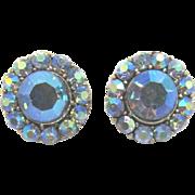 Two Blue Aurora Borealis Rhinestone Buttons