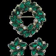 Emerald Green and AB Rhinestone Brooch and Earrings Set