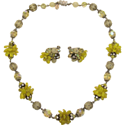 Vendome Brilliant Yellow and AB Beaded Necklace and Earring Set