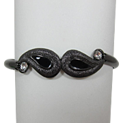 Bright Gunmetal Hinged Bracelet with Black Enameling and Rhinestones - Frank DeLizza's Archives