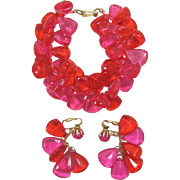 Hong Kong Deep Orange and Hot Pink Faceted Acrylic Bracelet and Earrings Set