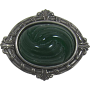 Victorian Revival Gunmetal Brooch with High-Domed Deep Green Inset - Frank DeLizza's Archives