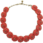 Trifari Coral Thermoplastic Flower Necklace